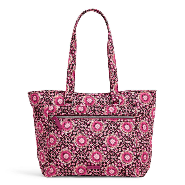 Work Tote Bag-Performance Twill Raspberry Medallion-Image 1-Vera Bradley