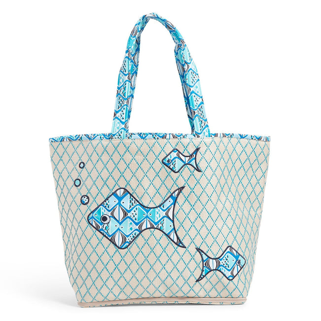 Factory Style Beach Tote Bag-Go Fish Blue-Image 1-Vera Bradley