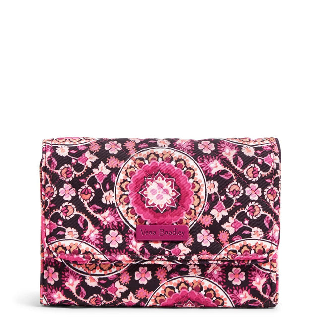 RFID Riley Compact Wallet-Performance Twill Raspberry Medallion-Image 1-Vera Bradley
