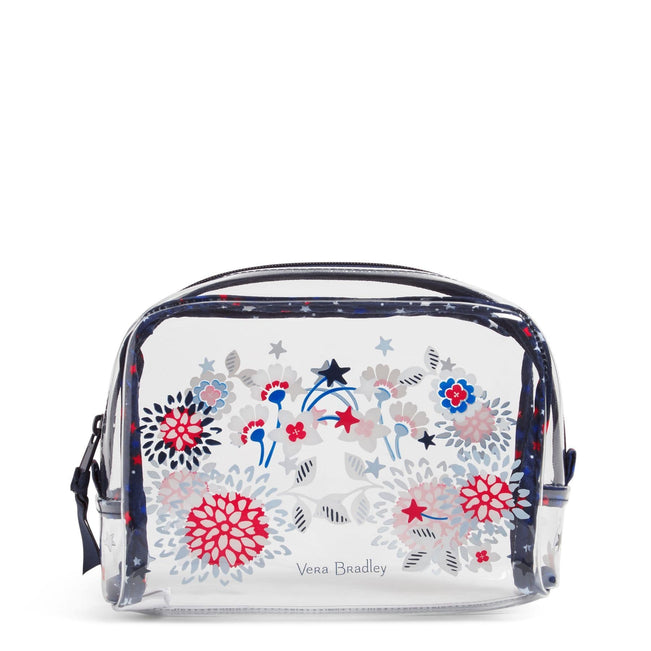 Beach Cosmetic Bag-Red White & Blossoms-Image 1-Vera Bradley