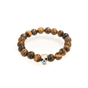 Bracelet with tiger eye and skull