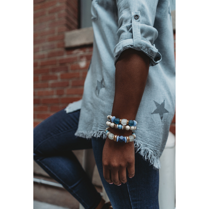 THE BLUE BRACELET STACK