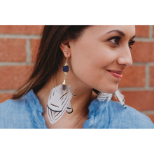 Load image into Gallery viewer, BLUE FEATHER EARRINGS
