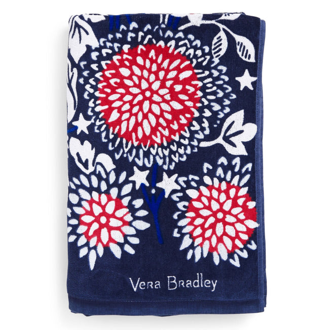 Beach Towel-Red White & Blossoms-Image 1-Vera Bradley