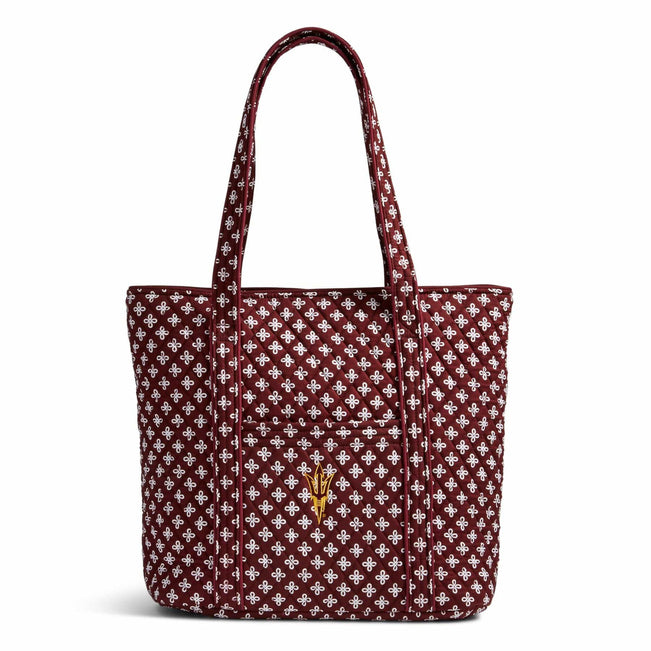 Collegiate Vera Tote Bag-Maroon/White Mini Concerto with Arizona State University Logo-Image 1-Vera Bradley