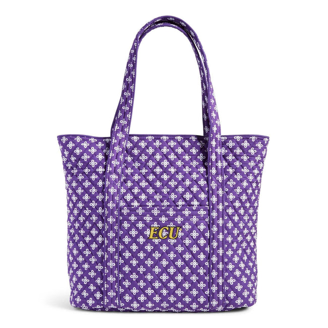 Collegiate Vera Tote Bag-Purple/White Mini Concerto with East Carolina University Logo-Image 1-Vera Bradley