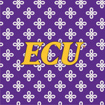 Collegiate Vera Tote Bag-Purple/White Mini Concerto with East Carolina University Logo-Image 2-Vera Bradley