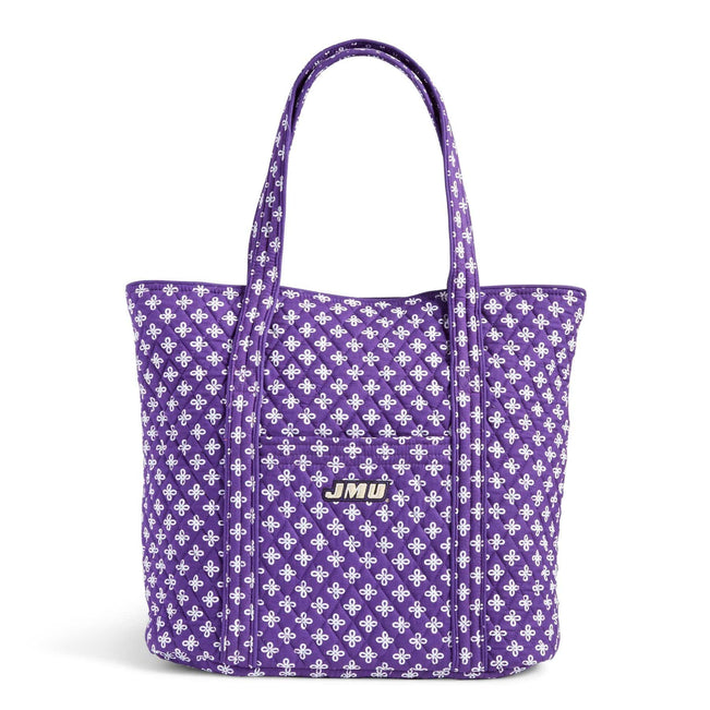 Collegiate Vera Tote Bag-Purple/White Mini Concerto with James Madison University Logo-Image 1-Vera Bradley