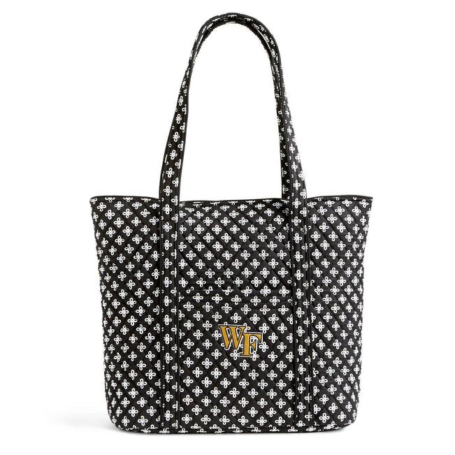 Collegiate Vera Tote Bag-Black/White Mini Concerto with Wake Forest University Logo-Image 1-Vera Bradley