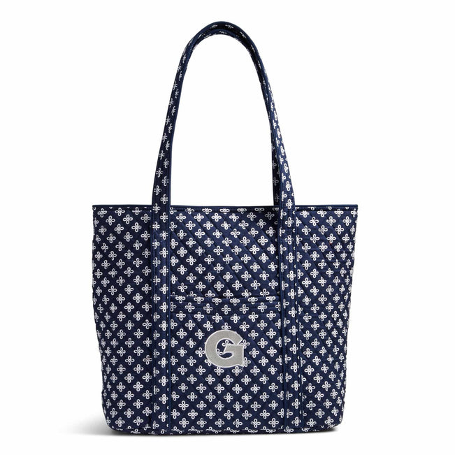 Collegiate Vera Tote Bag-Navy/White Mini Concerto with Georgetown University Logo-Image 1-Vera Bradley
