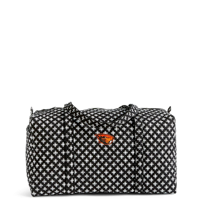 Collegiate Large Travel Duffel Bag-Black/White Mini Concerto with Oregon State University Logo-Image 1-Vera Bradley