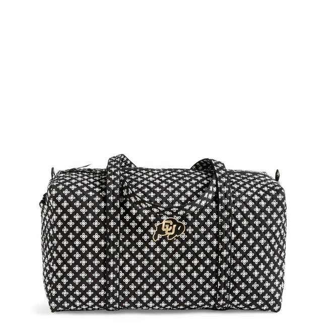 Collegiate Large Duffel Travel Bag-Black/White Mini Concerto with University of Colorado Logo-Image 1-Vera Bradley