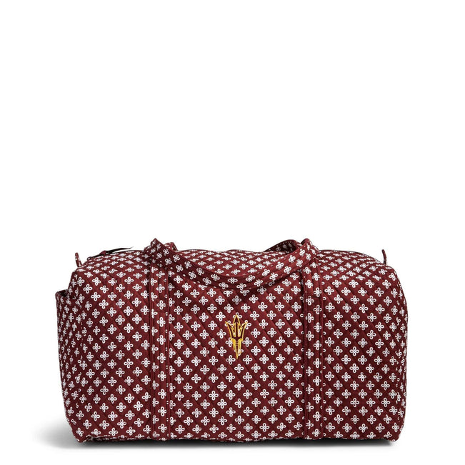 Collegiate Large Duffel Travel Bag-Maroon/White Mini Concerto with Arizona State University Logo-Image 1-Vera Bradley