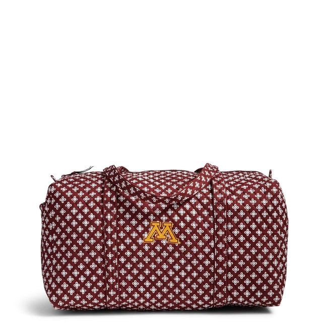 Collegiate Large Travel Duffel Bag-Maroon/White Mini Concerto with University of Minnesota Logo-Image 1-Vera Bradley