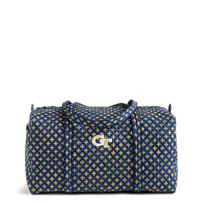 Collegiate Large Travel Duffel Bag-Navy/Fash. Gold Mini Concerto with Georgia Tech Logo-Image 1-Vera Bradley