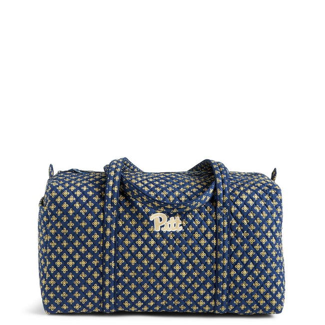 Collegiate Large Duffel Travel Bag-Navy/Fash. Gold Mini Concerto with University of Pittsburgh Logo-Image 1-Vera Bradley