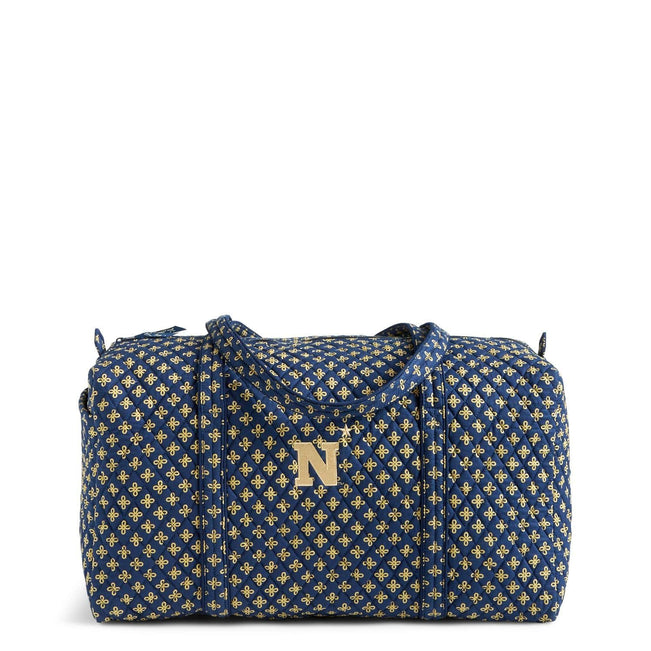 Collegiate Large Travel Duffel Bag-Navy/Fash. Gold Mini Concerto with United States Naval Academy Logo-Image 1-Vera Bradley