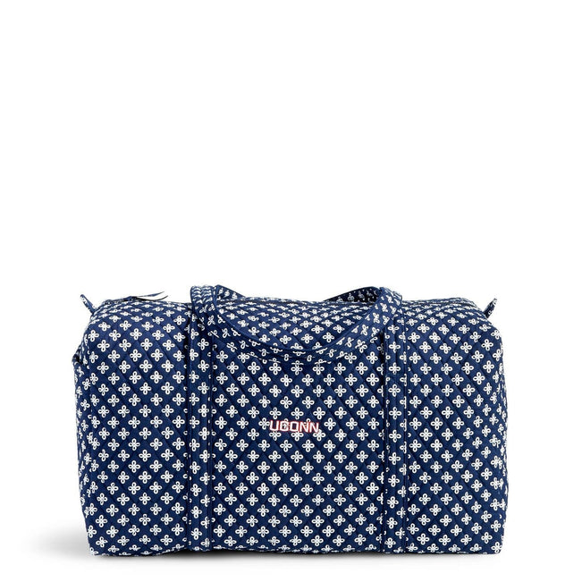 Collegiate Large Duffel Travel Bag-Navy/White Mini Concerto with University of Connecticut Logo-Image 1-Vera Bradley