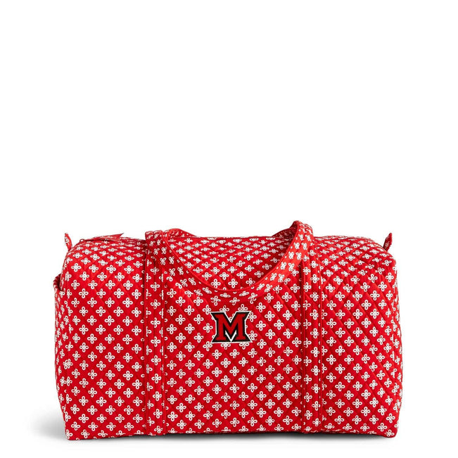 Collegiate Large Travel Duffel Bag-Red/White Mini Concerto with Miami of Ohio Logo-Image 1-Vera Bradley