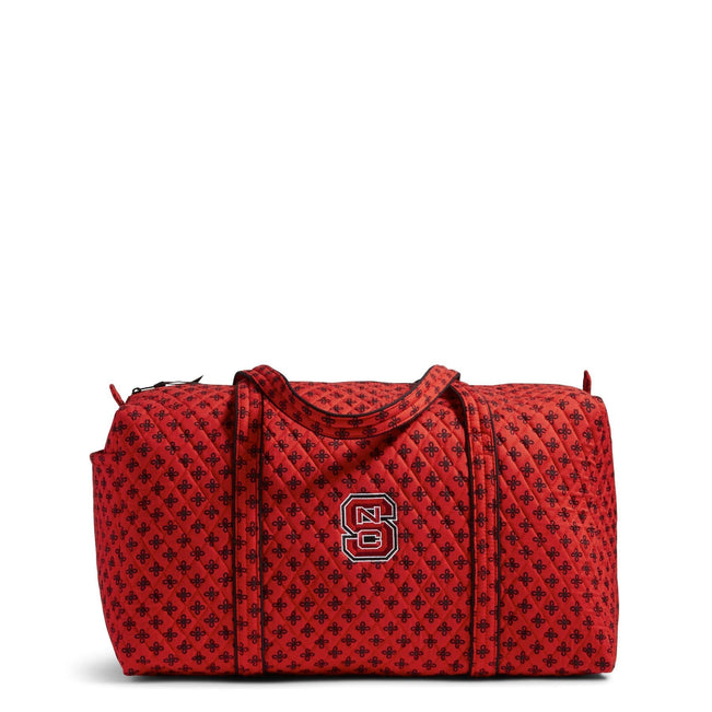 Collegiate Large Travel Duffel Bag-Red/Black Mini Concerto with North Carolina State University Logo-Image 1-Vera Bradley