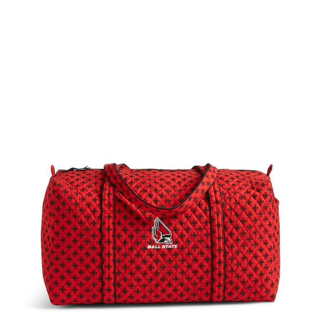 Collegiate Large Duffel Travel Bag-Red/Black Mini Concerto with Ball State University Logo-Image 1-Vera Bradley