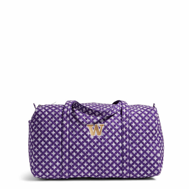 Collegiate Large Duffel Travel Bag-Purple/White Mini Concerto with University of Washington Logo-Image 1-Vera Bradley