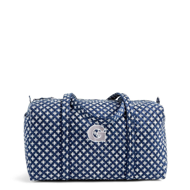 Collegiate Large Travel Duffel Bag-Navy/White Mini Concerto with Georgetown University Logo-Image 1-Vera Bradley