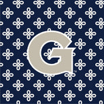 Collegiate Large Travel Duffel Bag-Navy/White Mini Concerto with Georgetown University Logo-Image 2-Vera Bradley