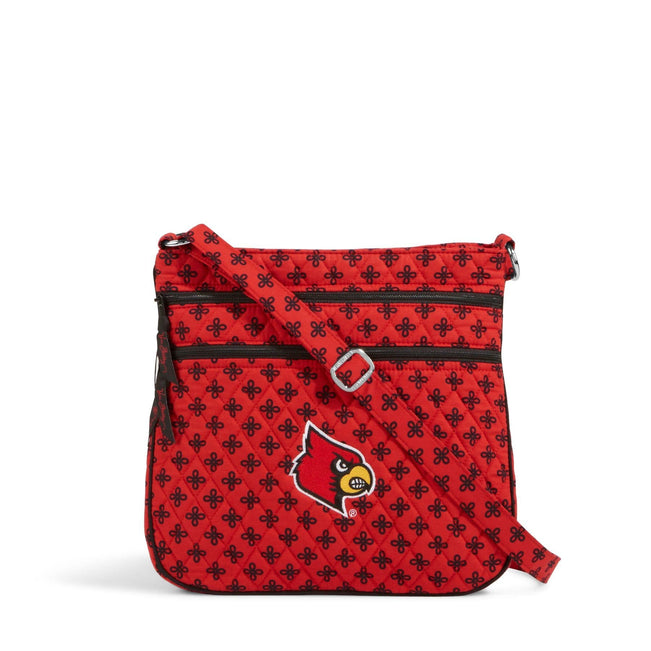 Collegiate Triple Zip Hipster Crossbody-Red/Black Mini Concerto with University of Louisville Logo-Image 1-Vera Bradley