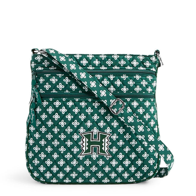 Collegiate Triple Zip Hipster Crossbody-Dk Green/White Mini Concerto with University Hawaii Logo-Image 1-Vera Bradley
