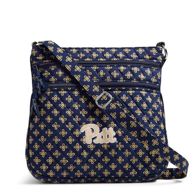 Collegiate Triple Zip Hipster Crossbody-Navy/Fash. Gold Mini Concerto with University of Pittsburgh Logo-Image 1-Vera Bradley
