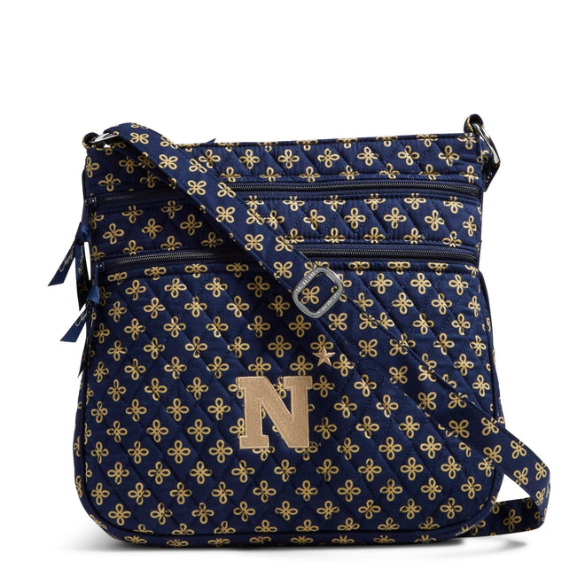 Collegiate Triple Zip Hipster Crossbody-Navy/Fash. Gold Mini Concerto with United States Naval Academy Logo-Image 1-Vera Bradley