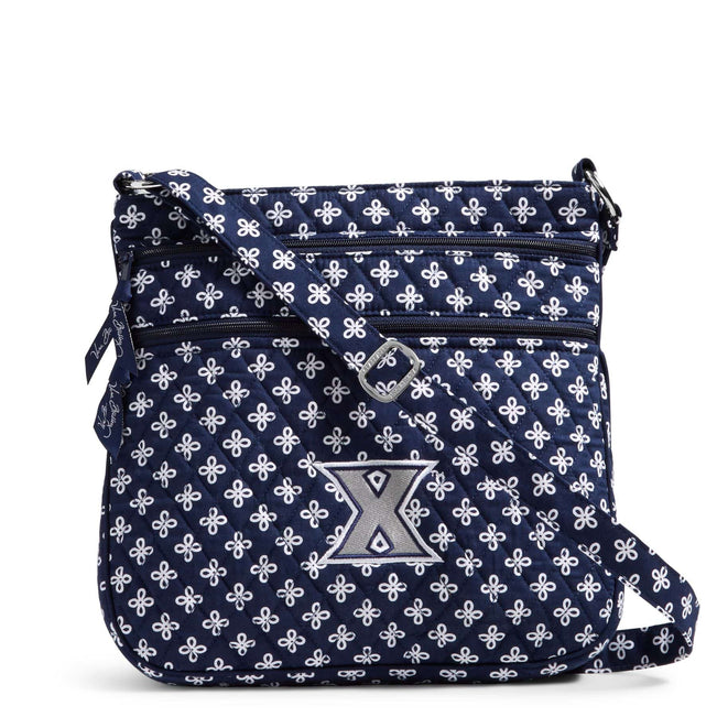 Collegiate Triple Zip Hipster Crossbody-Navy/White Mini Concerto with Xavier University Logo-Image 1-Vera Bradley