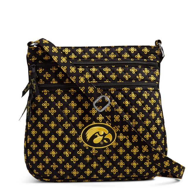 Collegiate Triple Zip Hipster Crossbody-Black/Var. Gold Mini Concerto with University of Iowa Logo-Image 1-Vera Bradley