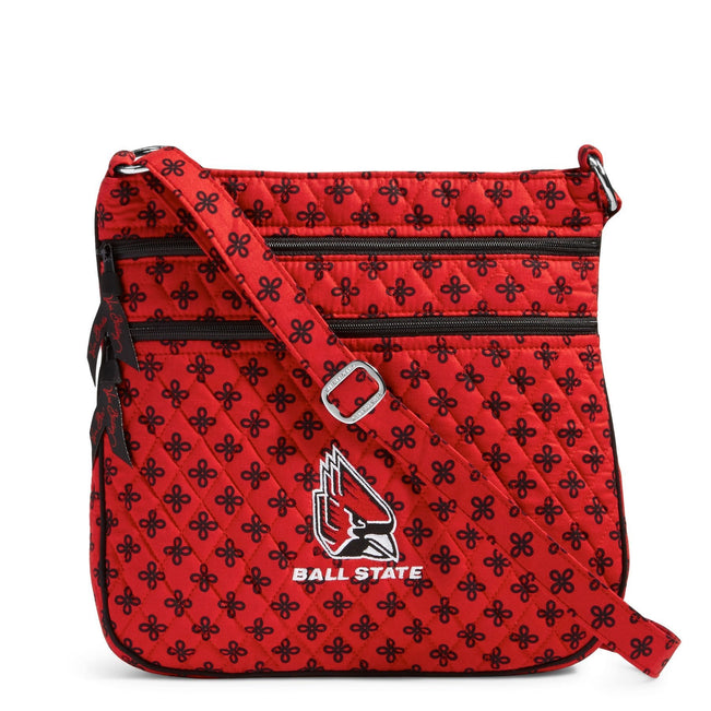 Collegiate Triple Zip Hipster Crossbody-Red/Black Mini Concerto with Ball State University Logo-Image 1-Vera Bradley