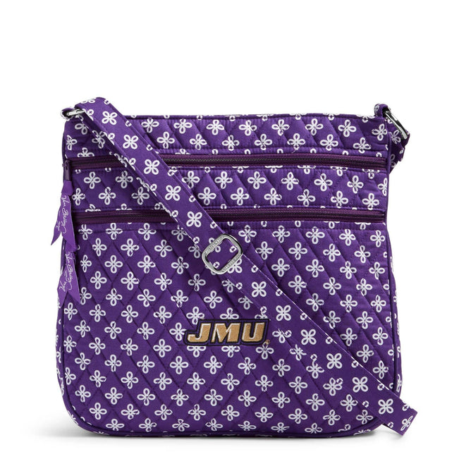 Collegiate Triple Zip Hipster Crossbody-Purple/White Mini Concerto with James Madison University Logo-Image 1-Vera Bradley
