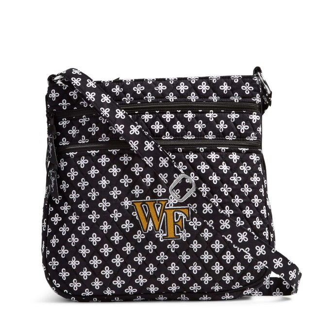 Collegiate Triple Zip Hipster Crossbody-Black/White Mini Concerto with Wake Forest University Logo-Image 1-Vera Bradley