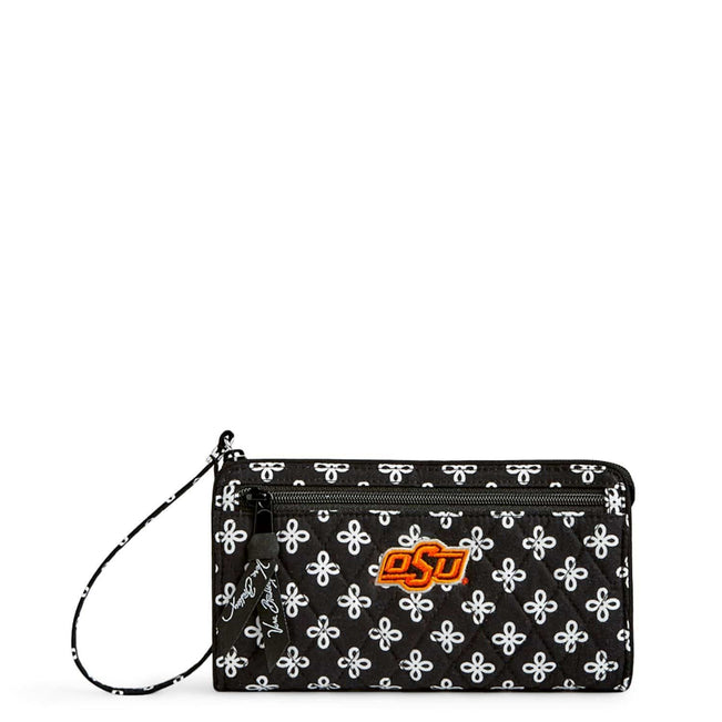 Collegiate Front Zip Wristlet-Black/White Mini Concerto with Oklahoma State University Logo-Image 1-Vera Bradley