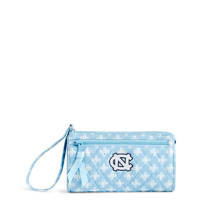 Collegiate Front Zip Wristlet-Car. Blue/White Mini Concerto with University of North Carolina Logo-Image 1-Vera Bradley