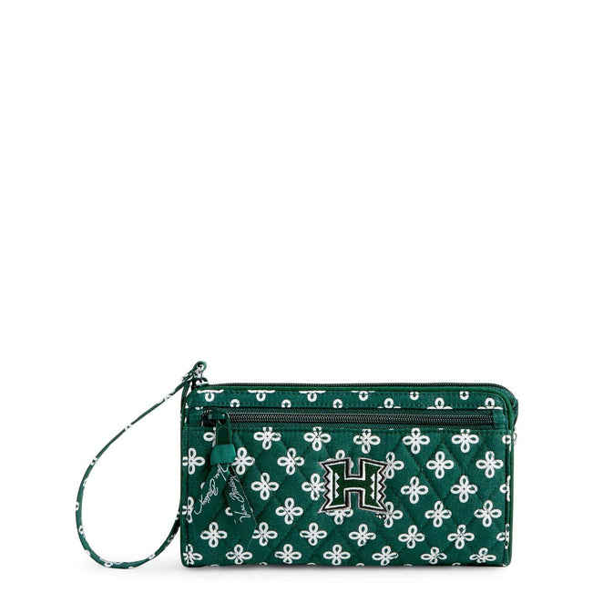 Collegiate Front Zip Wristlet-Dk Green/White Mini Concerto with University Hawaii Logo-Image 1-Vera Bradley