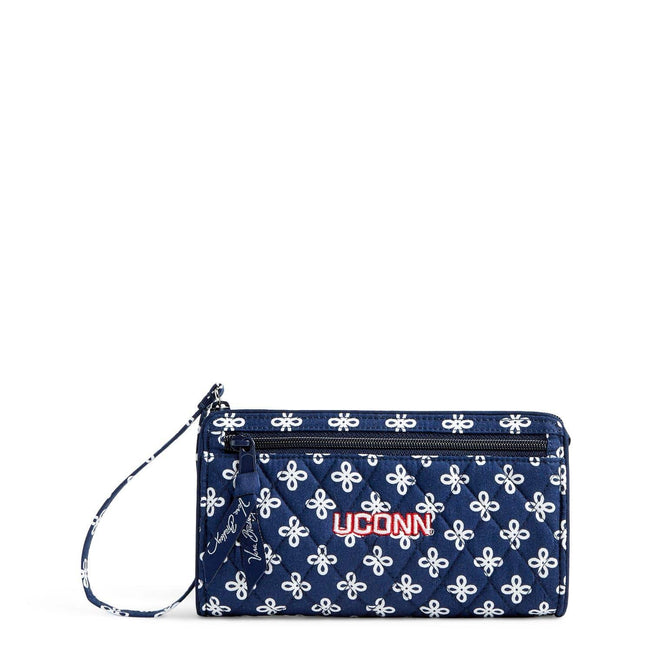 Collegiate Front Zip Wristlet-Navy/White Mini Concerto with University of Connecticut Logo-Image 1-Vera Bradley
