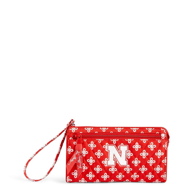 Collegiate Front Zip Wristlet-Red/White Mini Concerto with University of Nebraska Logo-Image 1-Vera Bradley