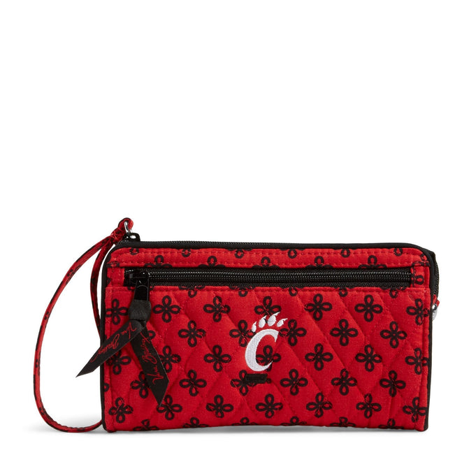 Collegiate Front Zip Wristlet-Red/Black Mini Concerto with University of Cincinnati Logo-Image 1-Vera Bradley