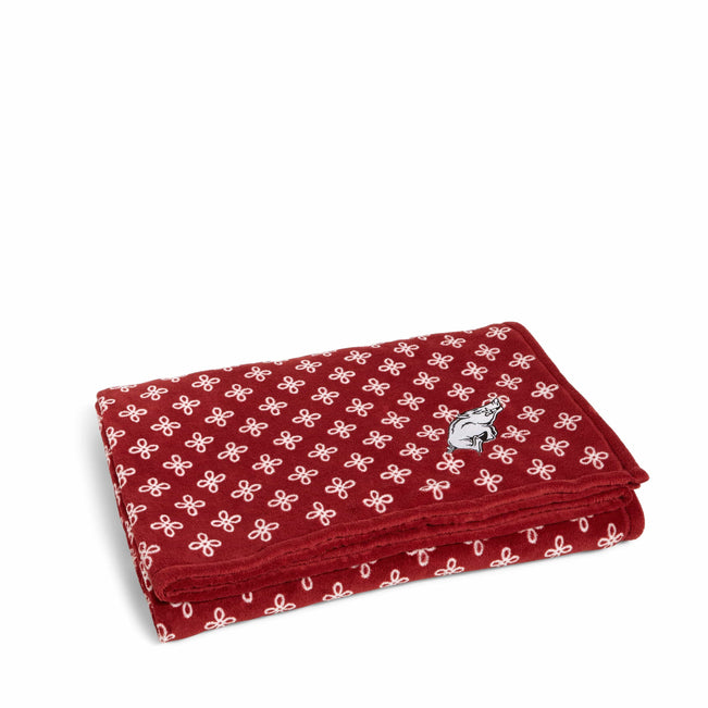 Collegiate XL Throw Blanket-Cardinal/White Mini Concerto with University of Arkansas Logo-Image 1-Vera Bradley