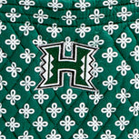 Collegiate XL Throw Blanket-Dk Green/White Mini Concerto with University Hawaii Logo-Image 2-Vera Bradley