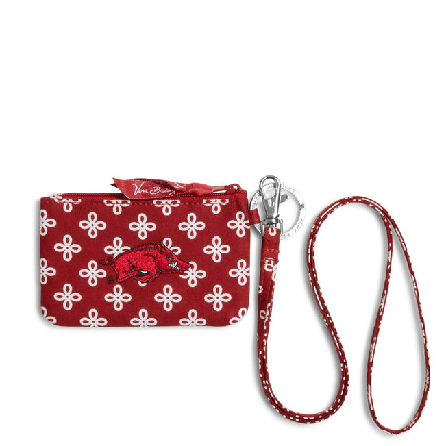 Collegiate Zip ID Lanyard-Cardinal/White Mini Concerto with University of Arkansas Logo-Image 1-Vera Bradley