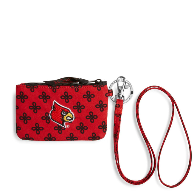 Collegiate Zip ID Lanyard-Red/Black Mini Concerto with University of Louisville Logo-Image 1-Vera Bradley