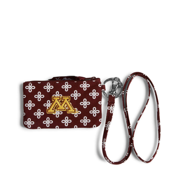 Collegiate Zip ID Lanyard-Maroon/White Mini Concerto with University of Minnesota Logo-Image 1-Vera Bradley