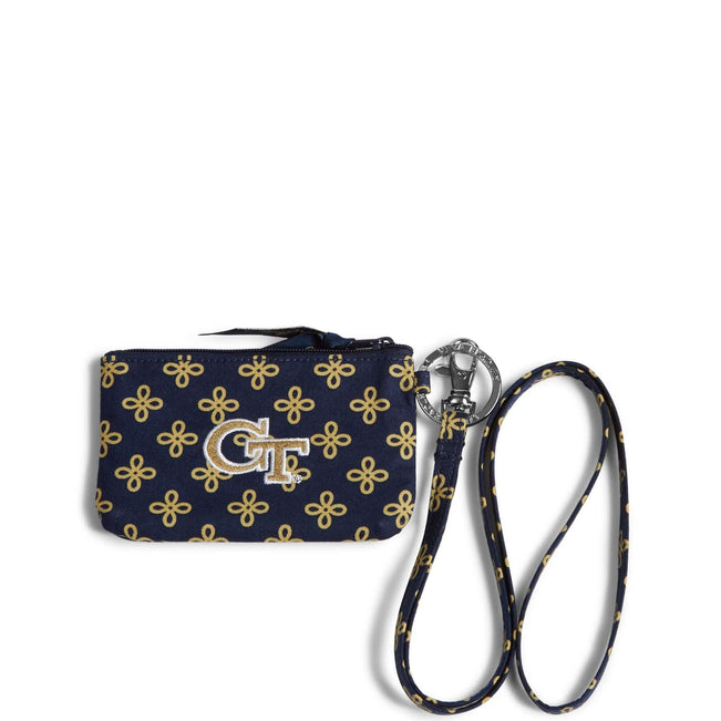 Collegiate Zip ID Lanyard-Navy/Fash. Gold Mini Concerto with Georgia Tech Logo-Image 1-Vera Bradley