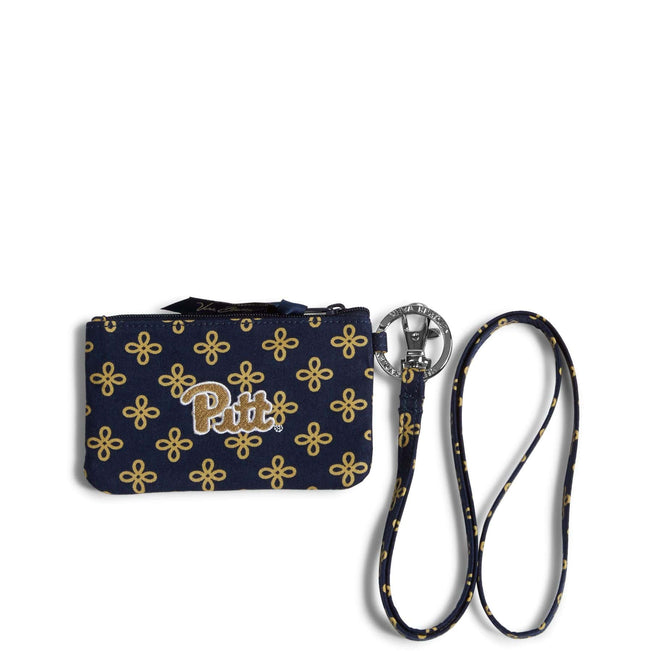 Collegiate Zip ID Lanyard-Navy/Fash. Gold Mini Concerto with University of Pittsburgh Logo-Image 1-Vera Bradley